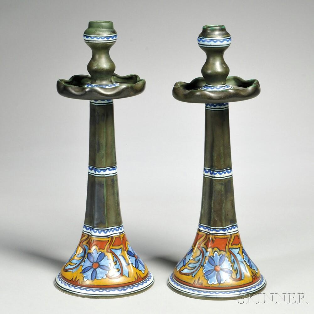 """Pair of Gouda Matte Glaze """"Anjer"""" Art Pottery Candlesticks"""