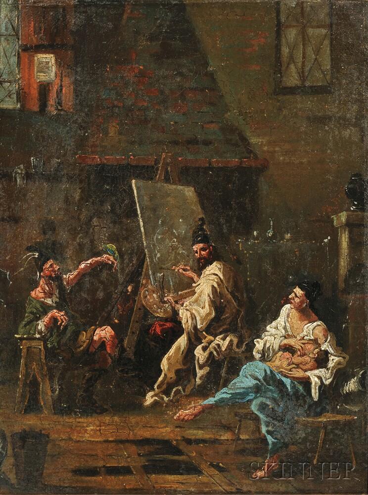 School of Alessandro Magnasco (Italian, 1667-1749)      The Artist's Studio