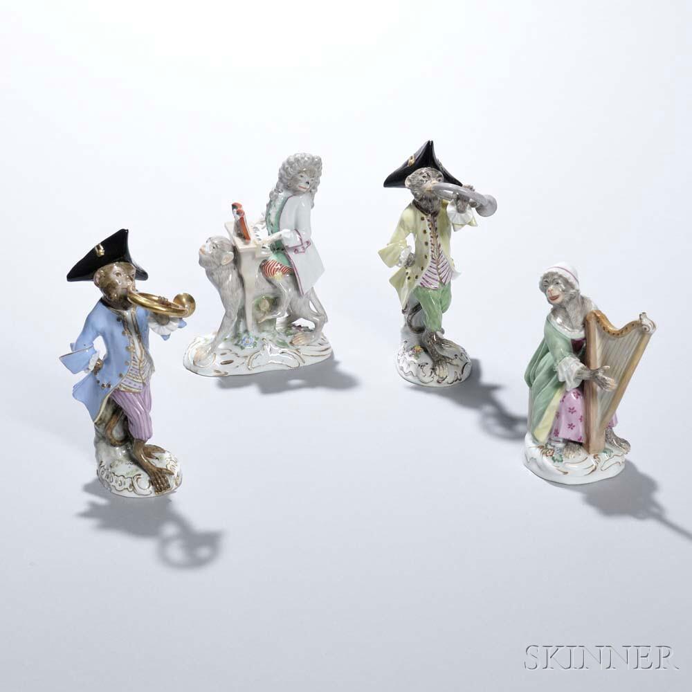 Four-piece Meissen Porcelain Monkey Band