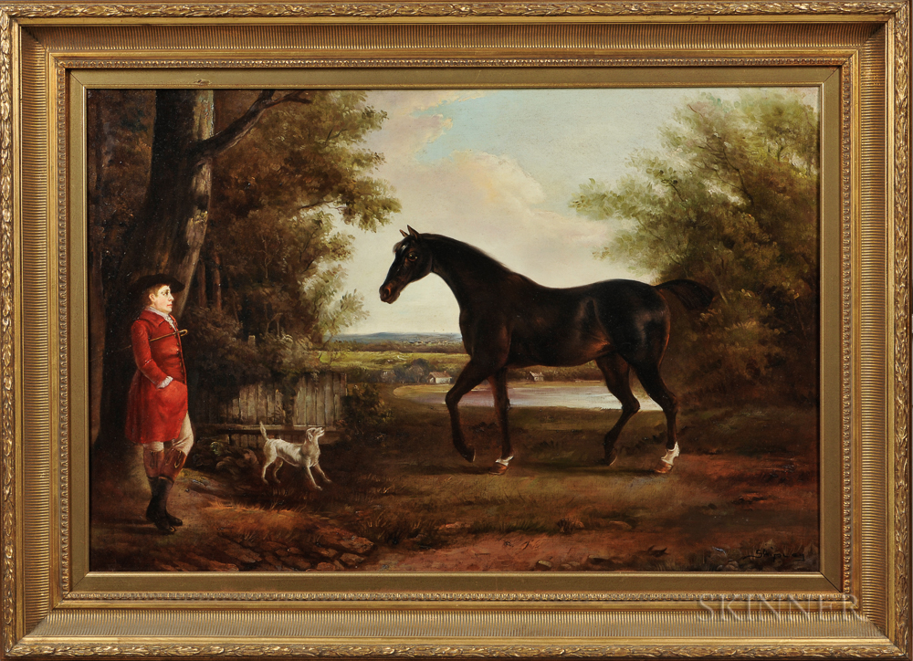 British School Style, 20th Century      English Horse and Horseman with Hound