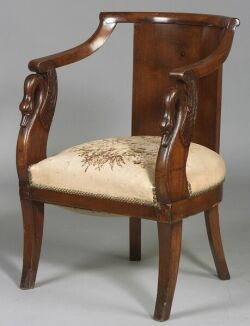 French Empire Provincial Walnut Armchair
