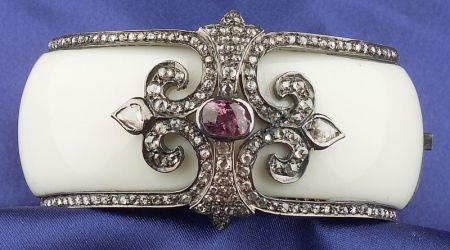 Pink Spinel and Diamond Bangle Bracelet