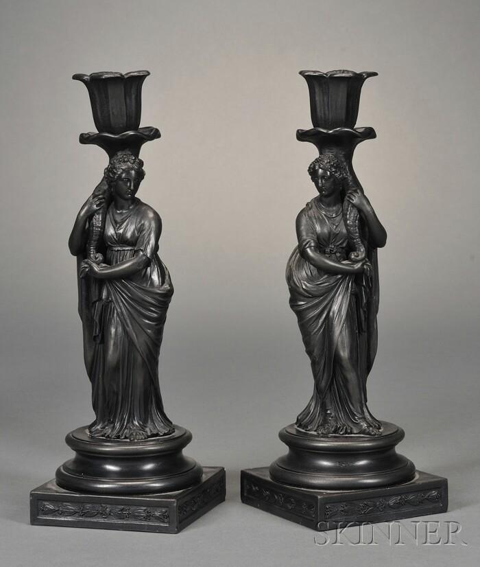 Pair of Wedgwood Black Basalt Figural Candlesticks