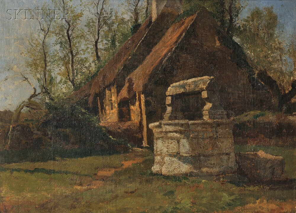 Attributed to Francis Coates Jones (American, 1857-1932)      Wishing Well Before a Thatched Cottage
