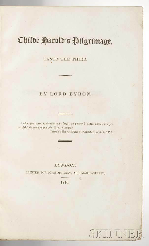 Byron, Lord George Gordon (1788-1824) Childe Harold's Pilgrimage, Canto the Third.