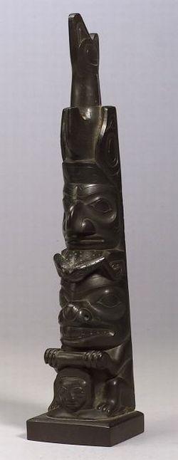 Northwest Coast Carved Argillite Totem Pole