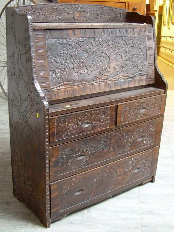 Asian Export Carved Hung Mu Fall-front Desk on Chest.