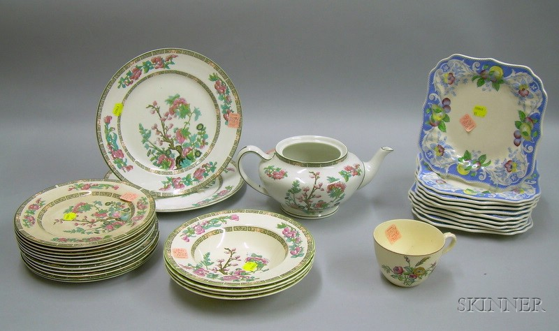 Eighteen Pieces of Myott India Tree Pattern Porcelain Tableware and a Set of Ten Royal Doulton Pomeroy Pattern ...