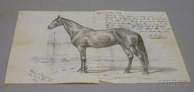 Interesting Manuscript Letter from 1877 with Large Pencil Sketch of Horse