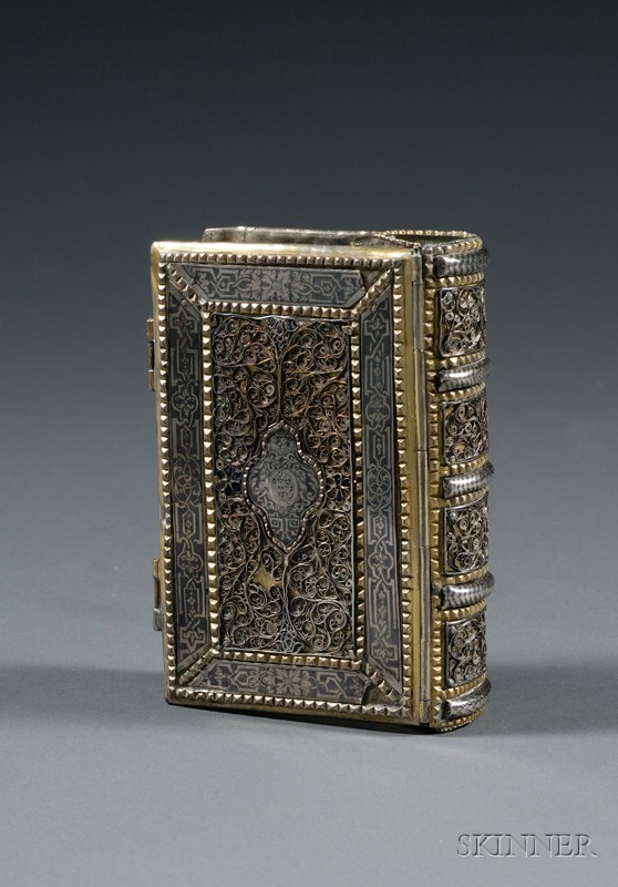 Sold for: $18,960 - Galician Silver, Silver-gilt, Filigree, and Niello Book Binding