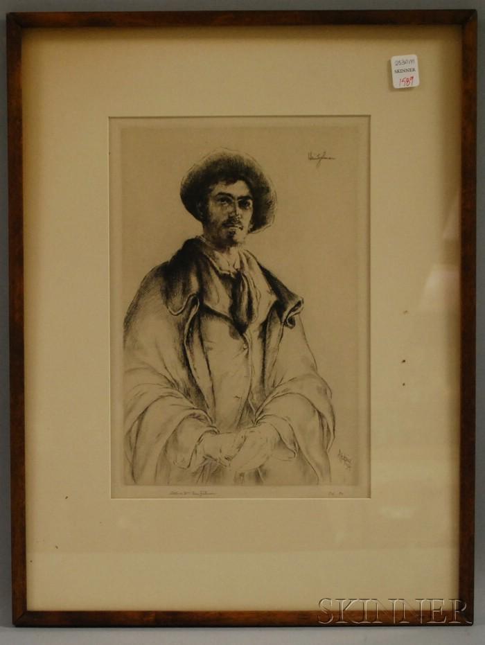 Framed Arthur W. Heintzelman Portrait Etching