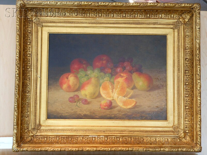 Bryant Chapin (American, 1859-1927)      Still Life with Apples, Pears, Peaches, Plum, Orange, and Grapes