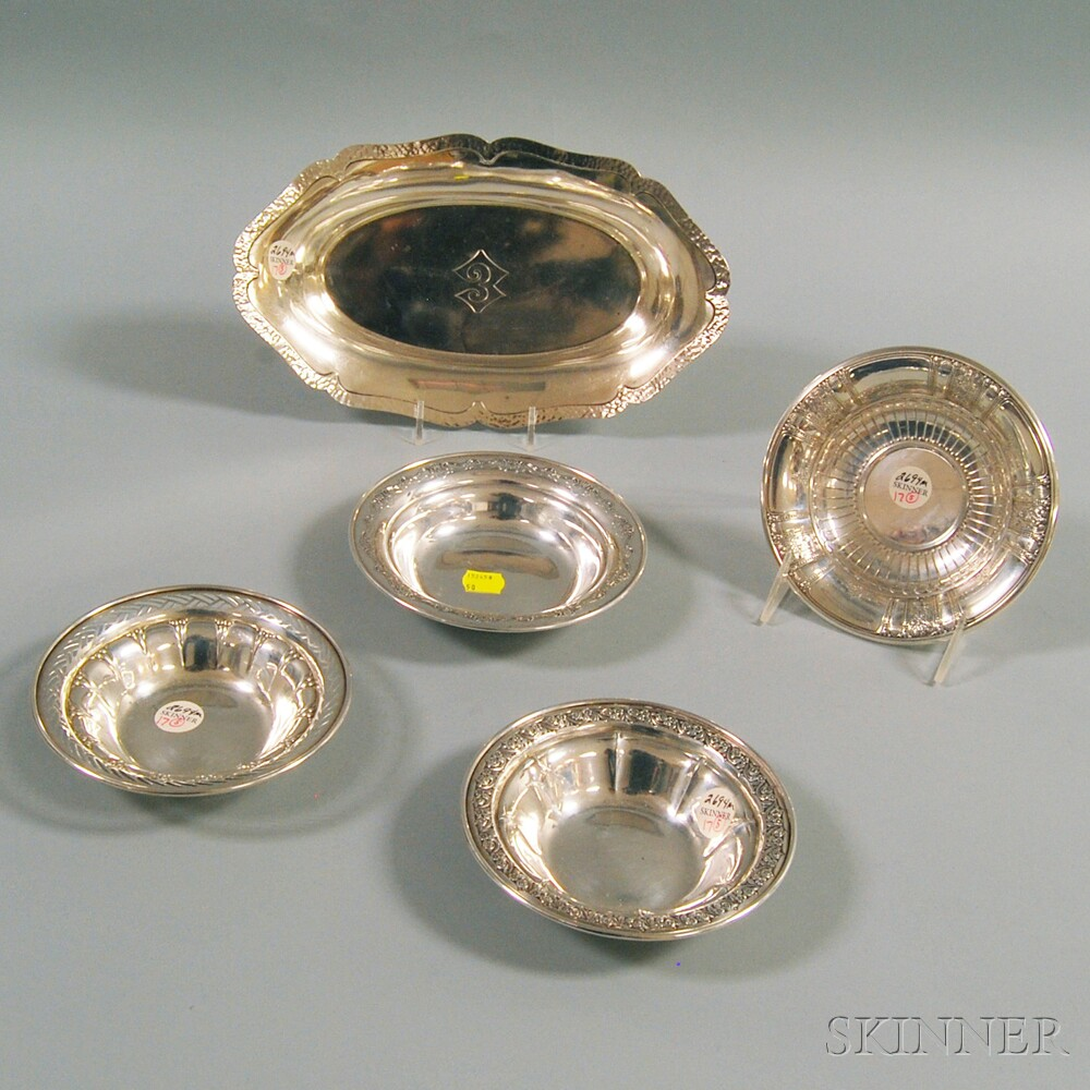 Five Pieces of Sterling Silver TablewareFive Pieces of Sterling Silver...
