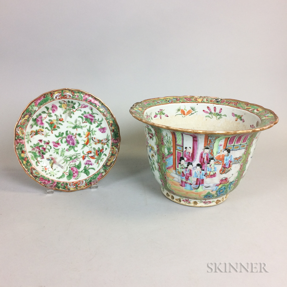 Rose Medallion Porcelain Jardiniere and Dish