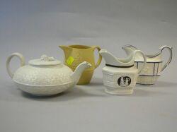 English Ceramic Teapot and Three Creamers
