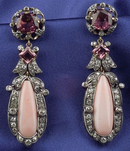 Pink Spinel, Coral and Diamond Earpendants