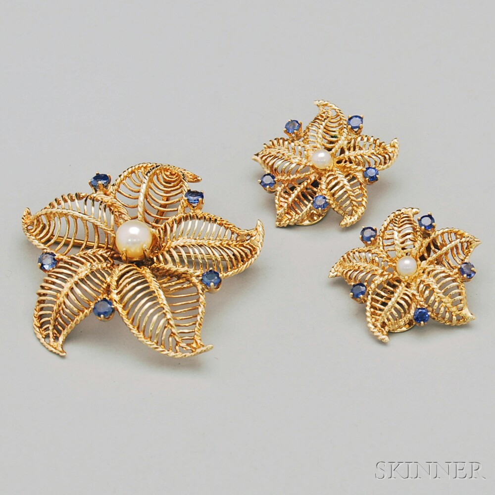 14kt Gold Wirework, Sapphire, and Pearl Starfish Brooch and Matching Earclips