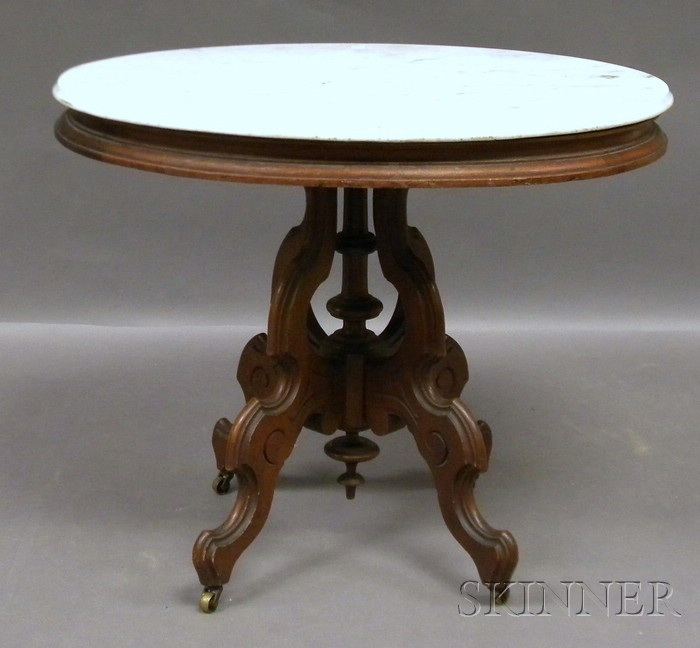 Victorian Oval White Marble-top Carved Walnut Occasional Table