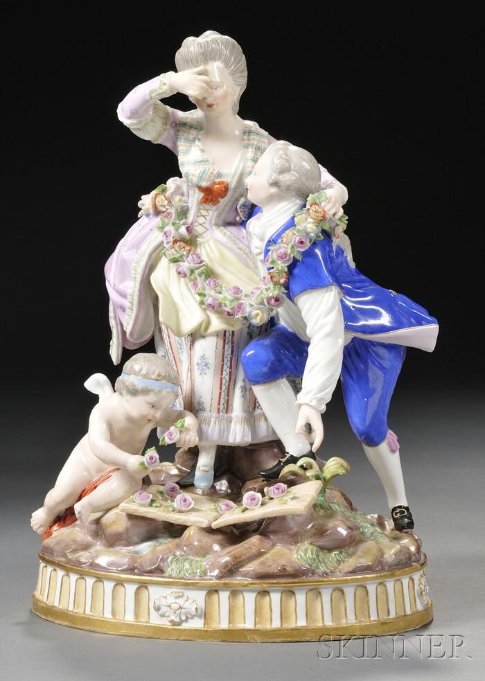 Meissen Porcelain Figural Group The Broken Bridge