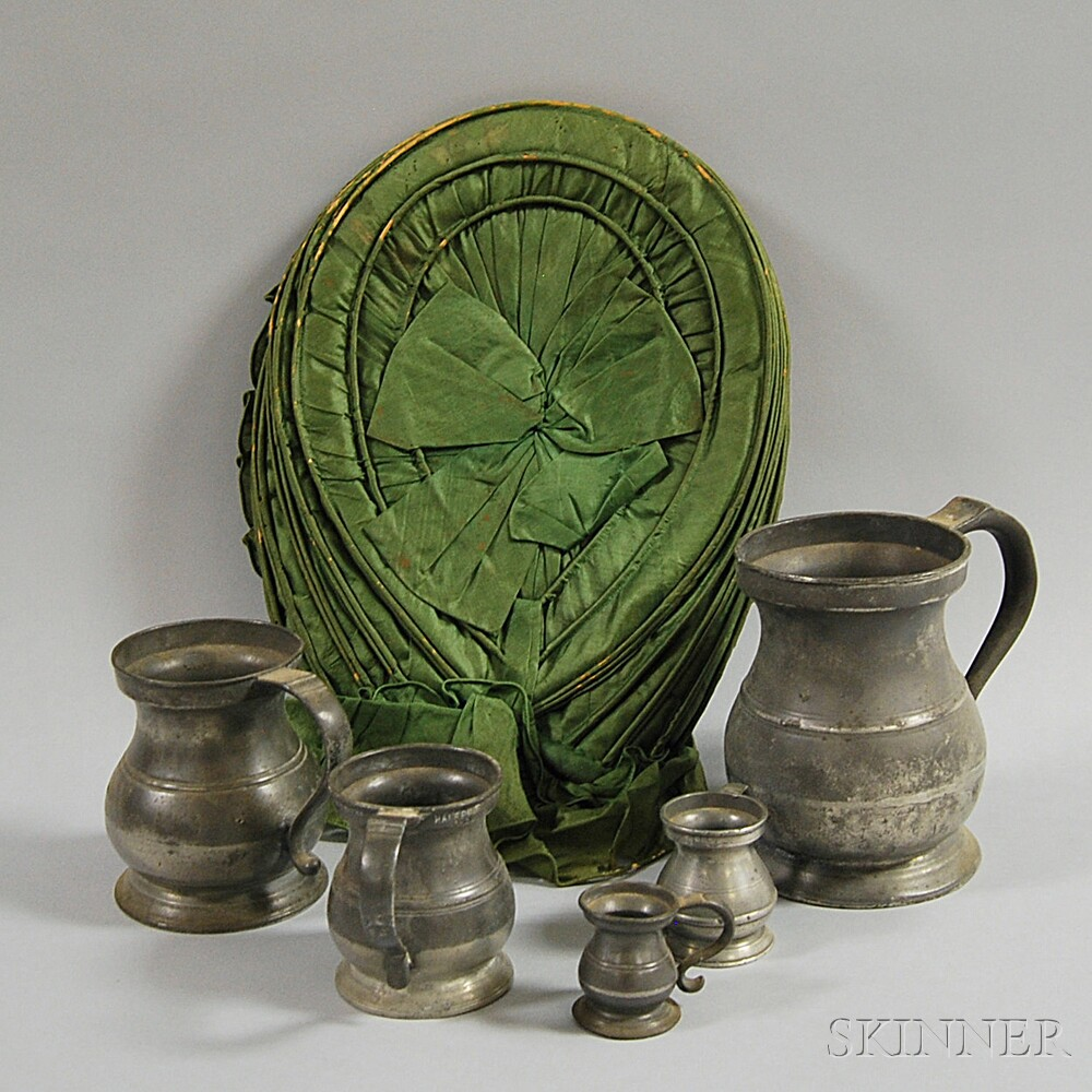 Five Graduated Pewter Measures and an Early Bonnet