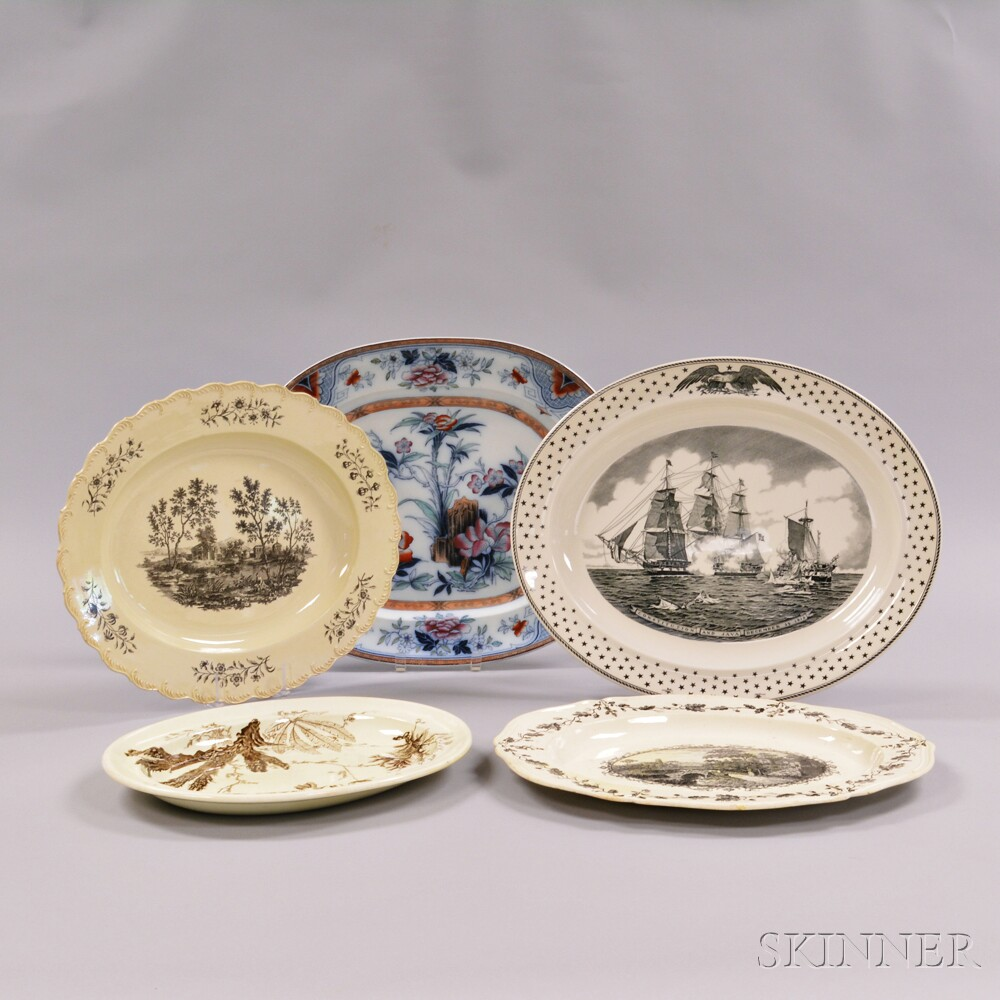 Ten Large Wedgwood Transfer-decorated Serving Platters
