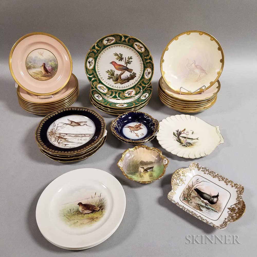 Thirty-four Bird-decorated Porcelain Plates and Dishes