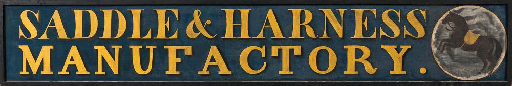 "Large ""Saddle & Harness/Manufactory"" Trade Sign"