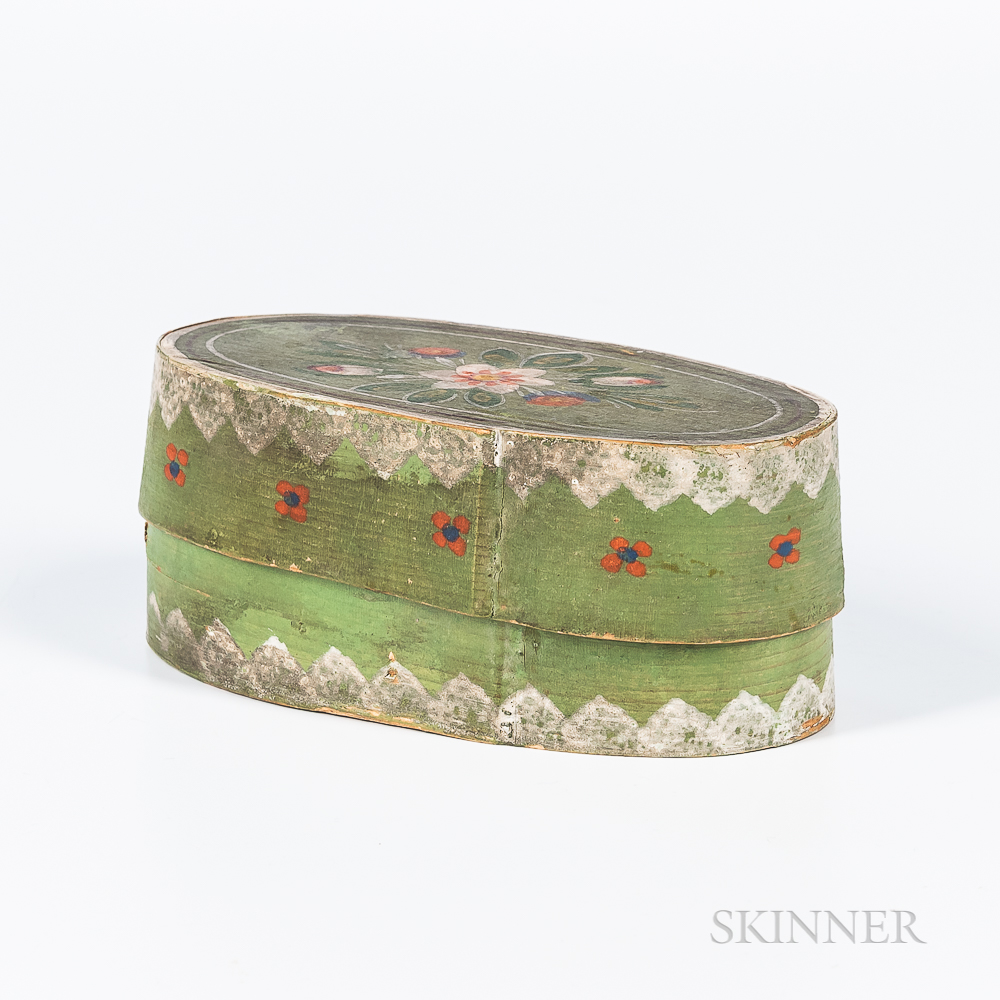 Small Green-painted and Floral-decorated Oval Trinket Box