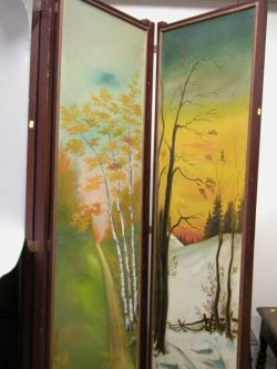 Scenic Painted Canvas Three-Panel Floor Screen.