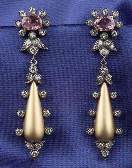 Pink Spinel and Diamond Earpendants