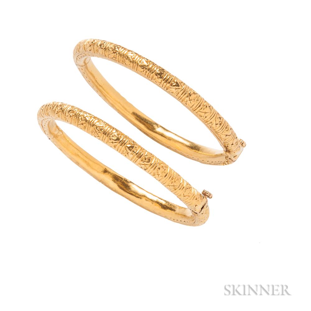 Pair of High-karat Gold Bracelets