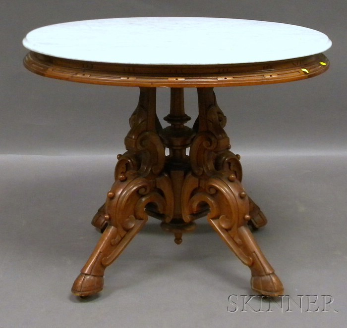 Victorian Renaissance Revival Oval White Marble-top Carved Walnut Occasional Table