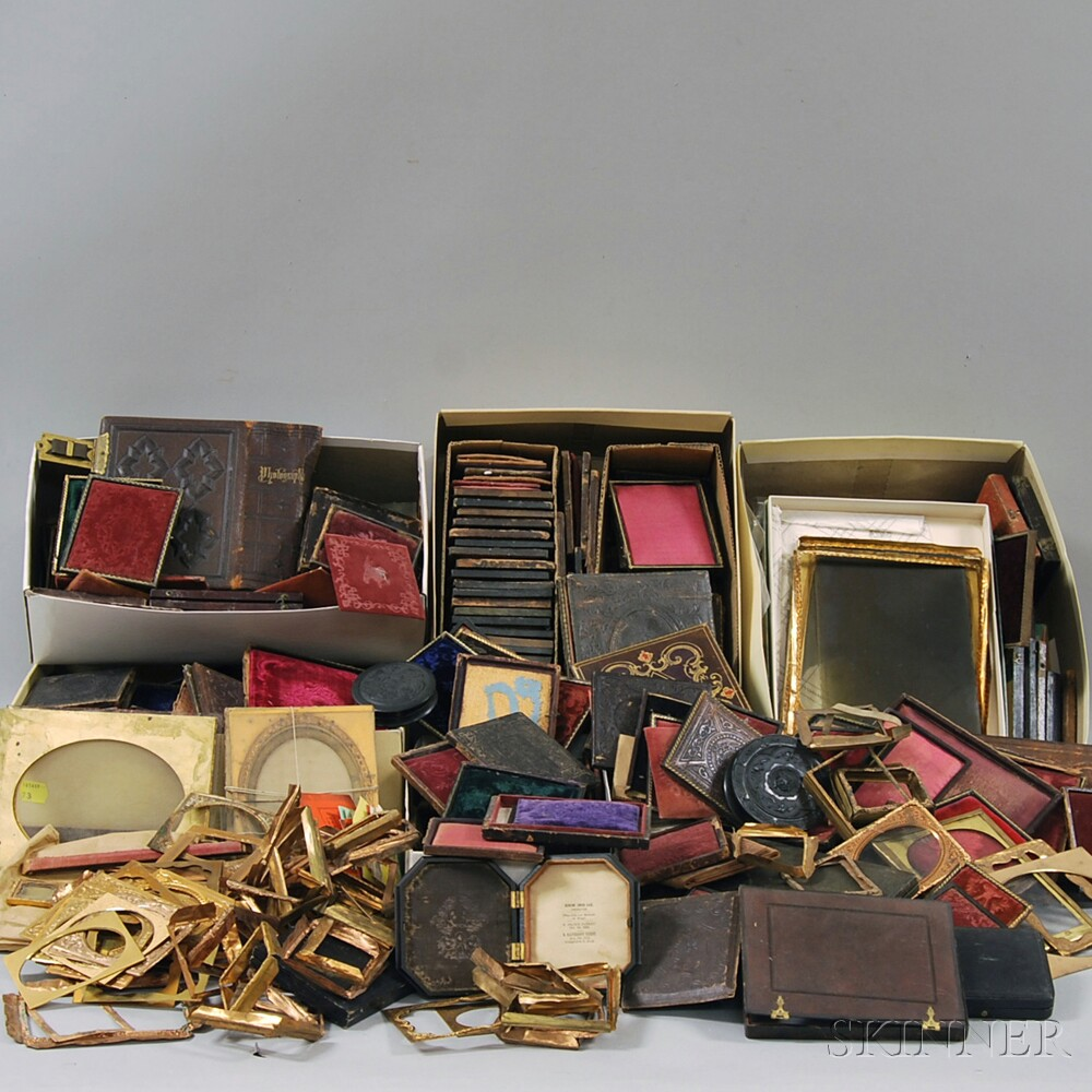 Large Lot of Late 19th Early Photographic Cases, Mats, Glass, Preservers, and Parts