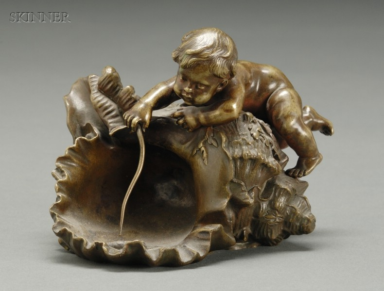 Auguste Moreau (French, 1834-1917)      Cherubic Figure on a Shell