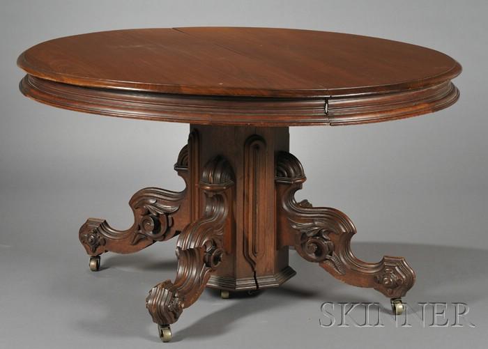 Victorian Renaissance Revival Carved Walnut Pedestal-base Dining Table