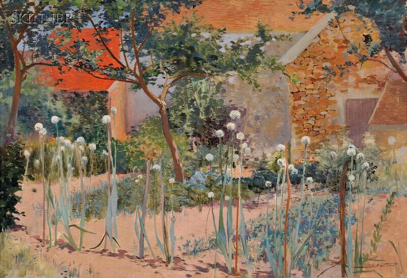 French School, 20th Century      Spring Garden with Allium