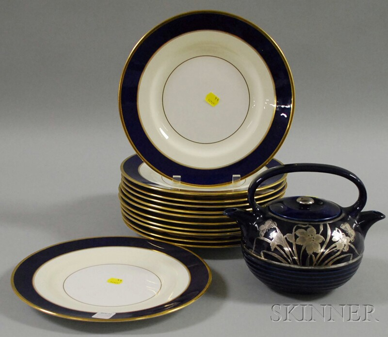 Set of Twelve Mintons Gilt and Cobalt Blue Banded Porcelain Dinner Plates and a Sterling Silver Overlaid Cobalt Blue Glazed Porcelain