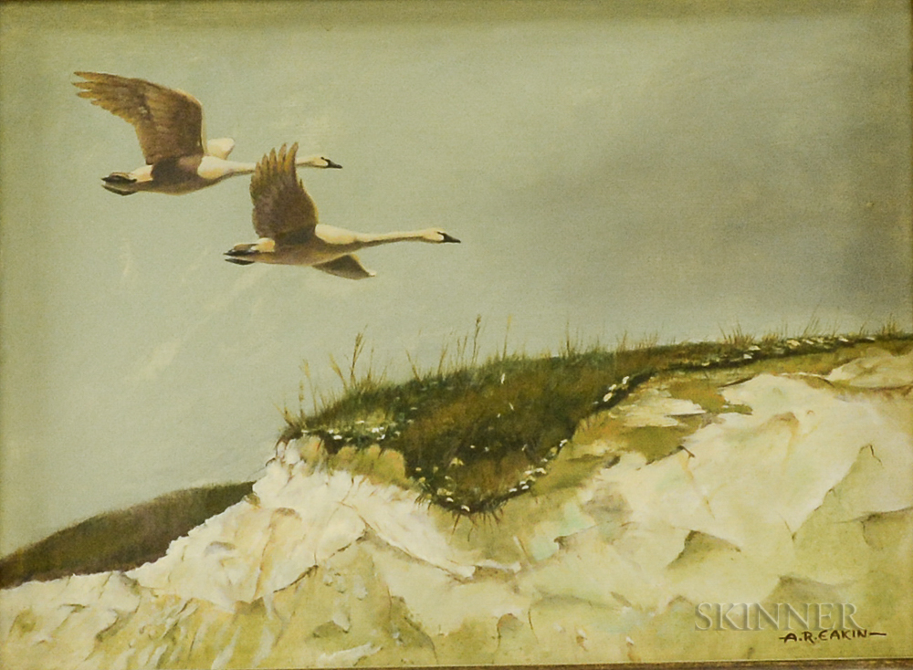 Arnold R. Eakin (American, 1914-1989)      Two Swans in Flight Over Dunes