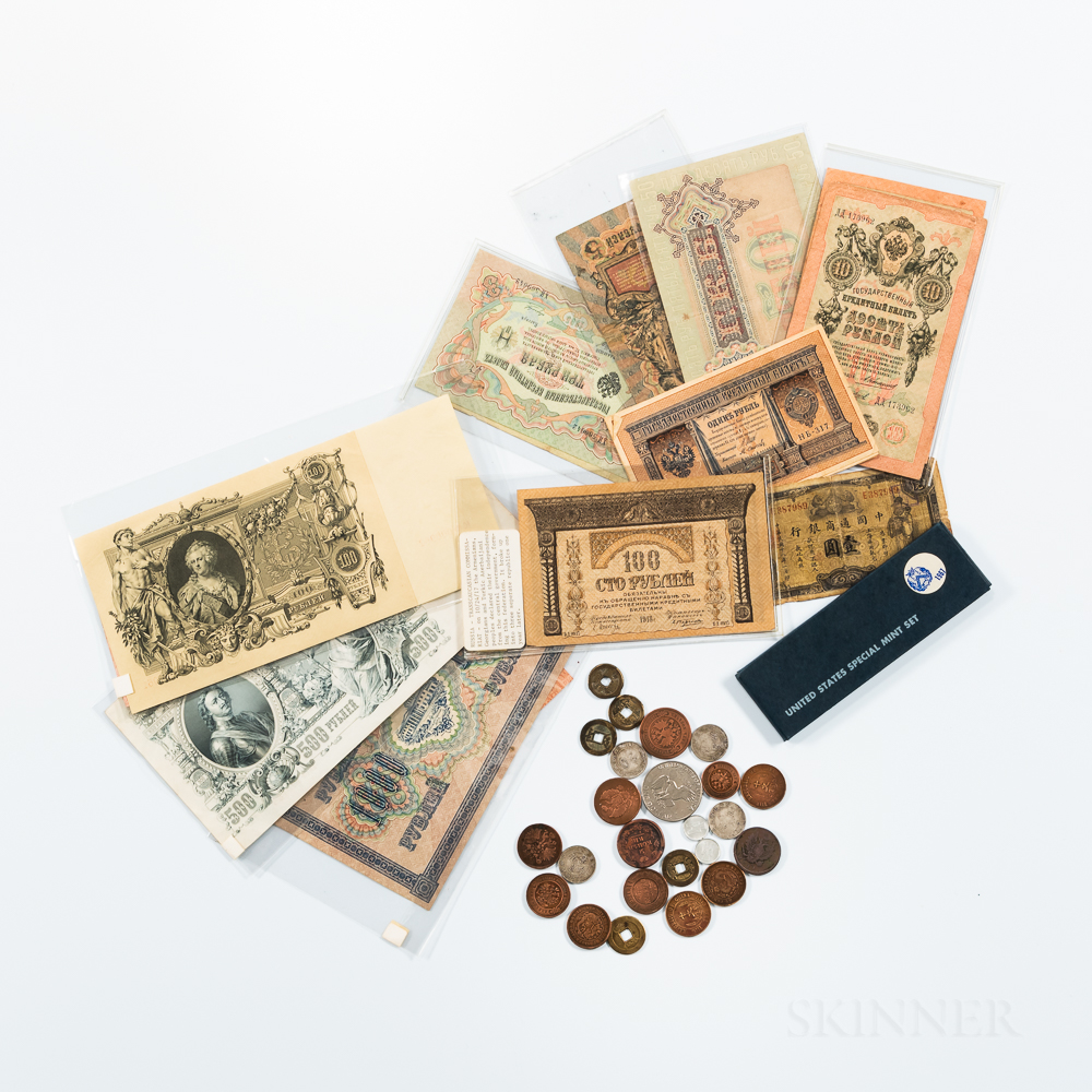 Small Group of Chinese and Russian Coins and Paper Money and a 1967 Special Mint Set