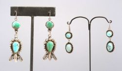 Two Pairs of Silver and Turquoise Earrings