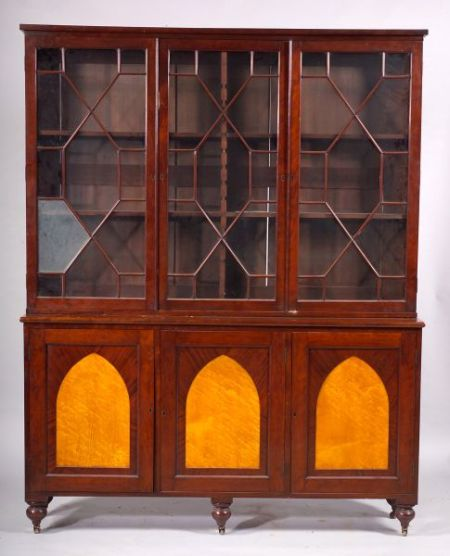 Cherrywood and Bird's Eye Maple Inlaid Library Cabinet
