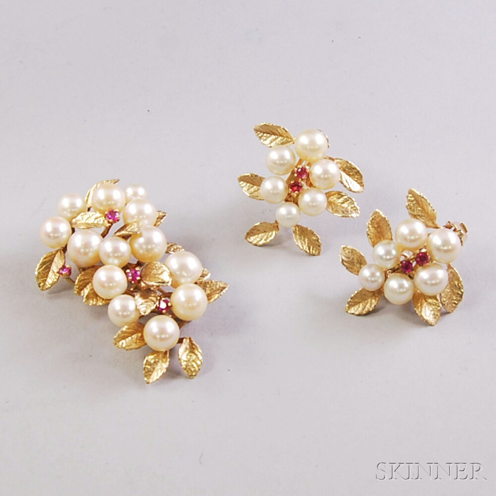 14kt Gold, Pearl, and Ruby Botanical Brooch and Matching Pierced Earclips