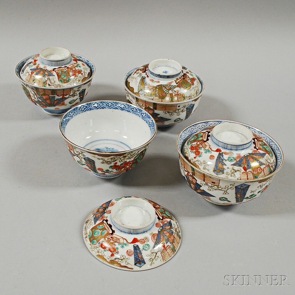 Four Imari Covered Bowls