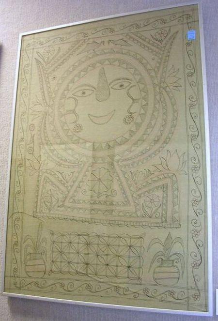 Framed Folk Art Work on Paper.
