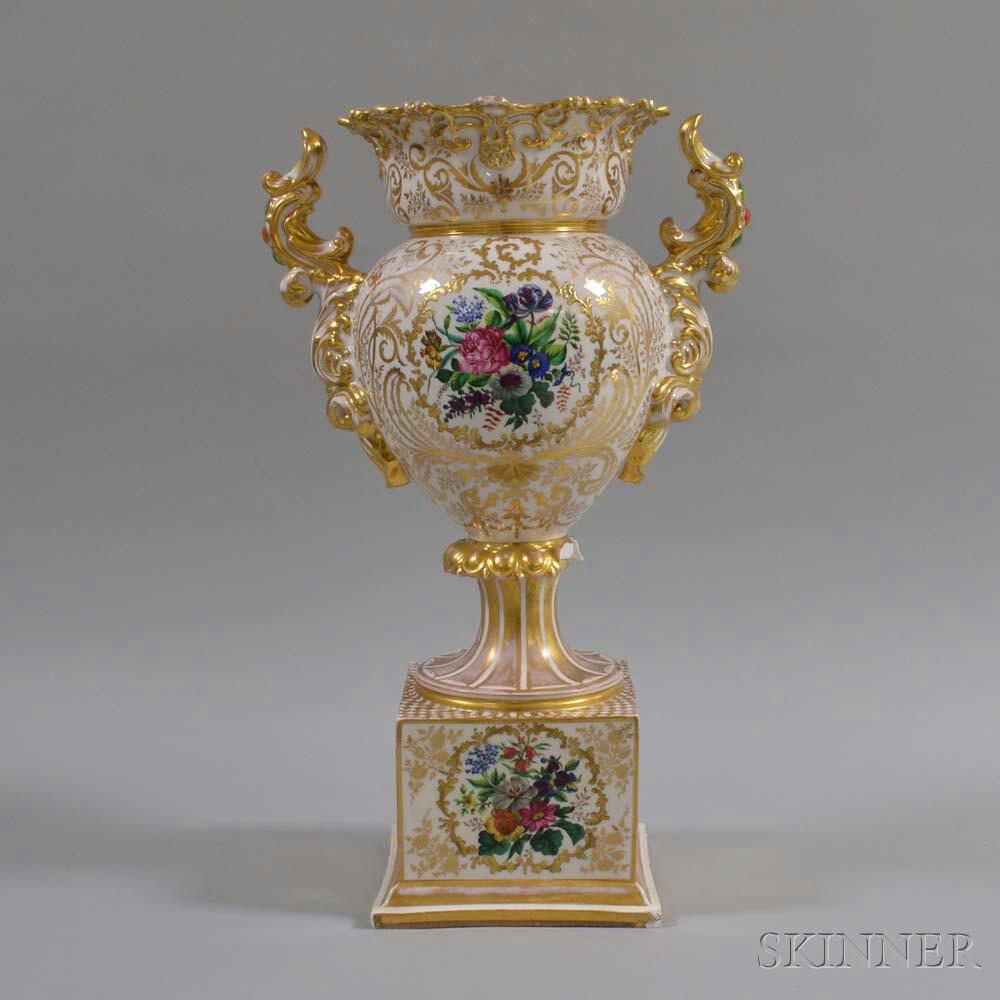 German Gilt and Floral-decorated Porcelain Handled Urn