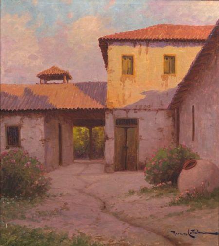 Ramos Catalan (Chilean, b. 1890)    Late Day, Courtyard