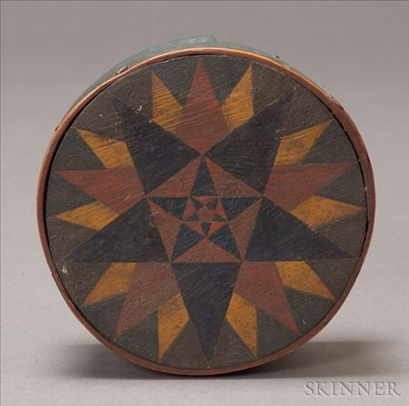 Round Painted Wooden Covered Box with Star