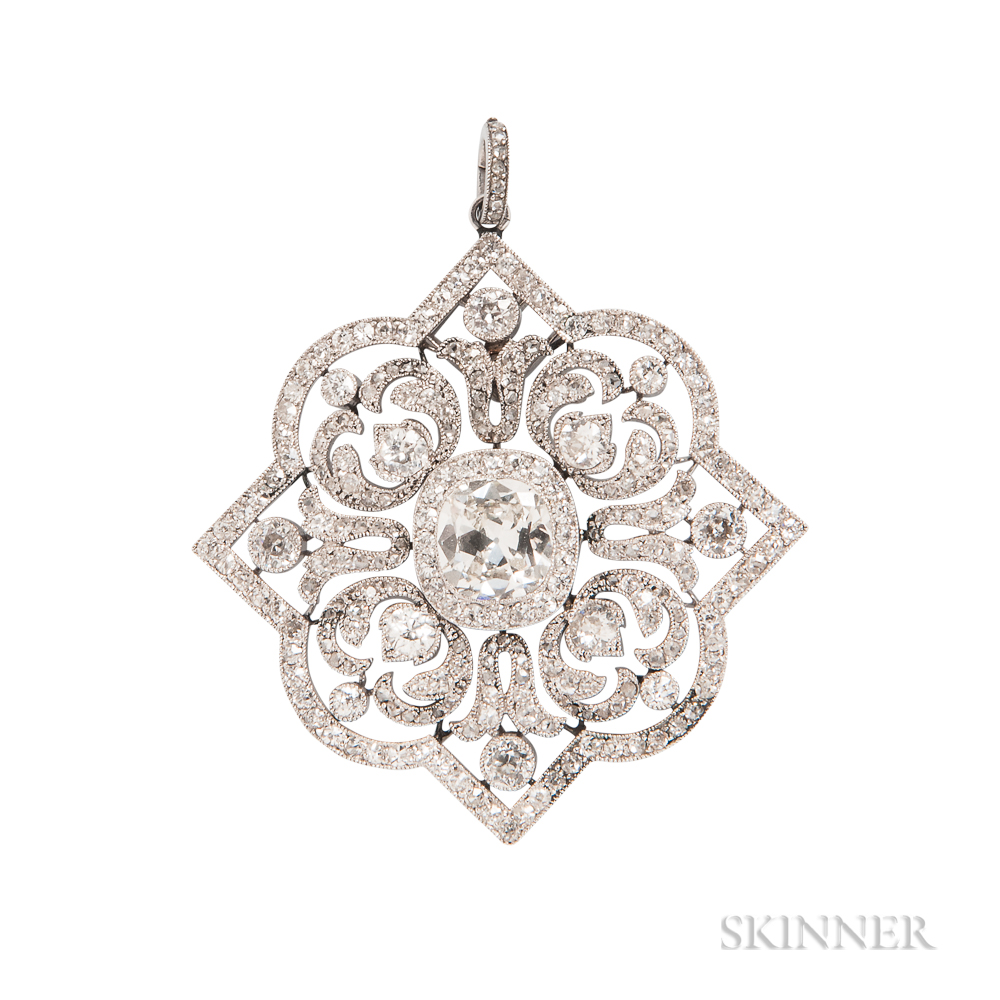 Edwardian Platinum and Diamond Pendant