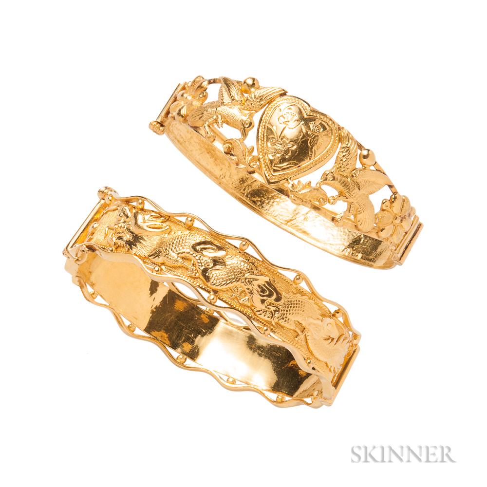 Two High-karat Gold Bracelets
