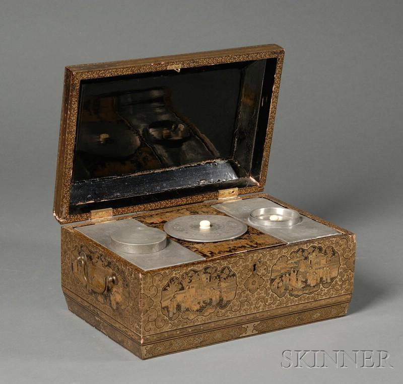 Gilt-decorated Lacquerware Tea Caddy